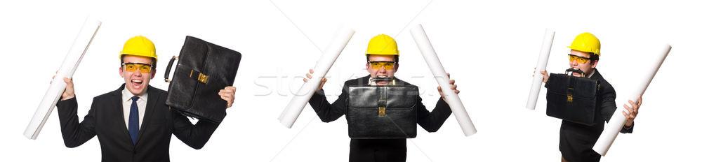 Stock fotó: Vicces · építész · rajzok · fehér · üzlet · papír