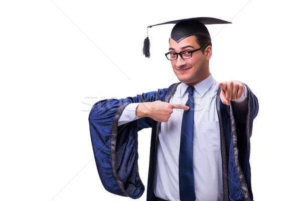 Stock photo: Young man student graduating isolated on white