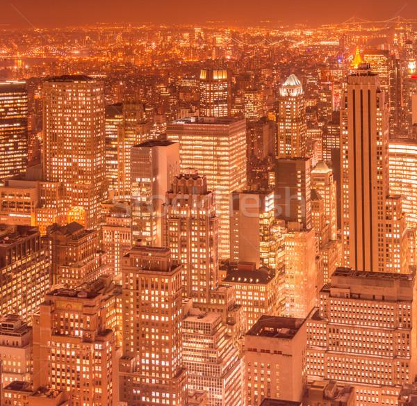 Ver Nova Iorque manhattan pôr do sol negócio céu Foto stock © Elnur