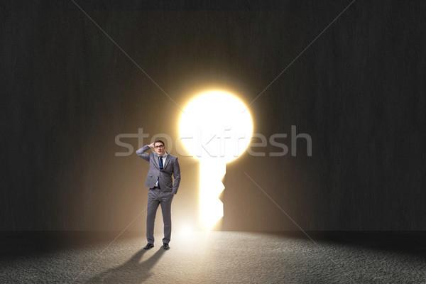Biznesmen trudny wyboru dylemat świetle Zdjęcia stock © Elnur