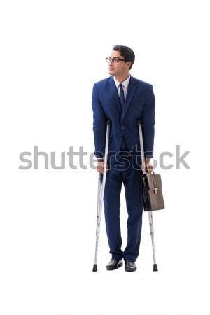 Empresário caminhada muletas isolado branco negócio Foto stock © Elnur