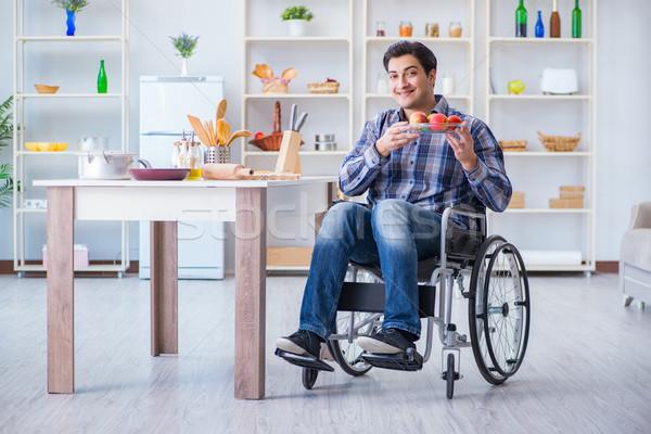 Młodych niepełnosprawnych mąż Sałatka człowiek Zdjęcia stock © Elnur