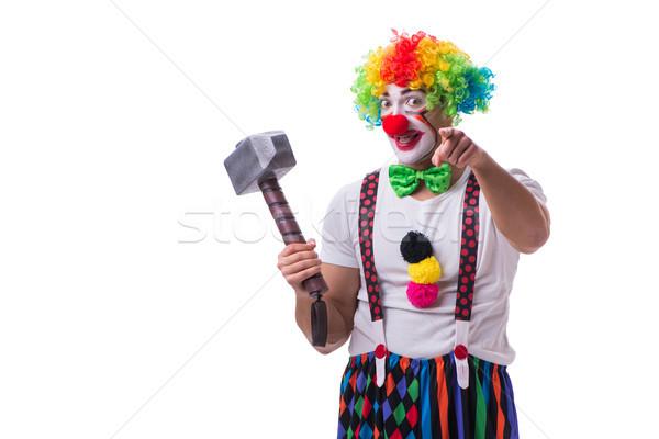 Grappig clown hamer geïsoleerd witte man Stockfoto © Elnur