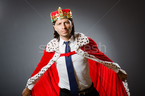 Stock photo: Young king businessman in royal concept