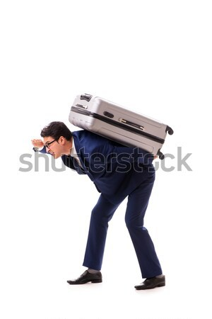 Businessman facing excess charges due to heavy suitcase Stock photo © Elnur