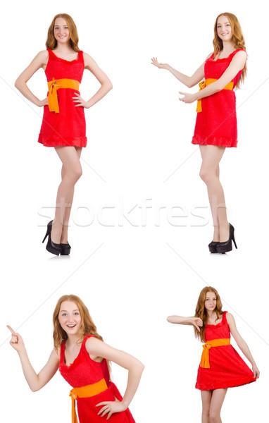 Foto stock: Jovem · beautiful · girl · isolado · branco · mulher · menina