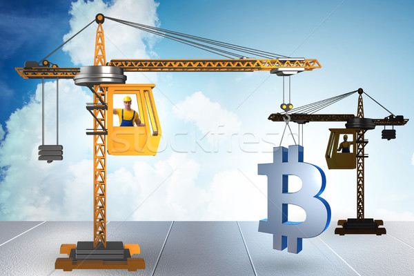 Construction grue bitcoin affaires bâtiment Photo stock © Elnur