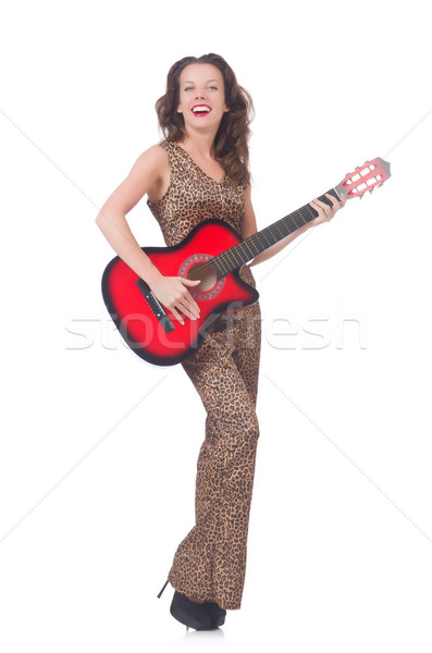 Woman in leopard clothing on white with guitar Stock photo © Elnur