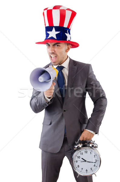 Man with loudspeaker and clock Stock photo © Elnur