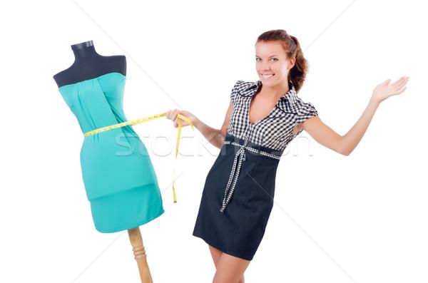 Mulher alfaiate isolado branco moda trabalhar Foto stock © Elnur