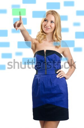 Stock photo: Young woman with blank board on white
