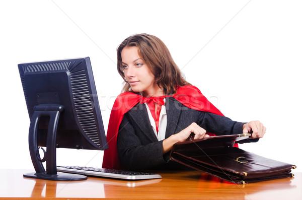 Superwoman worker working in office Stock photo © Elnur