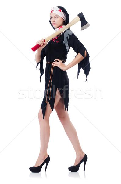 женщину дьявол топор изолированный белый девушки Сток-фото © Elnur