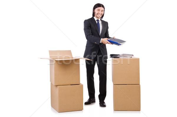 Photo stock: Homme · cases · plein · travaux · affaires · boîte