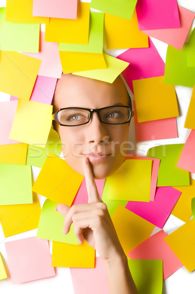 Woman with lots of reminders Stock photo © Elnur