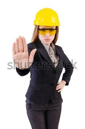 Nő építőmunkás izolált fehér boldog munka Stock fotó © Elnur