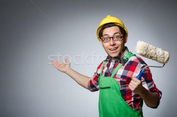 Vicces festő munkavédelmi sisak építkezés munka otthon Stock fotó © Elnur