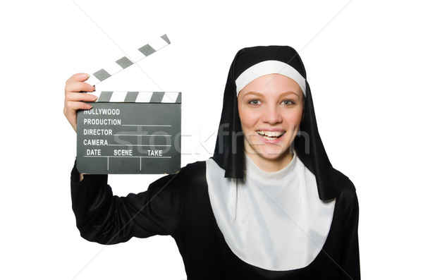 Nun with movie board isolated on white Stock photo © Elnur