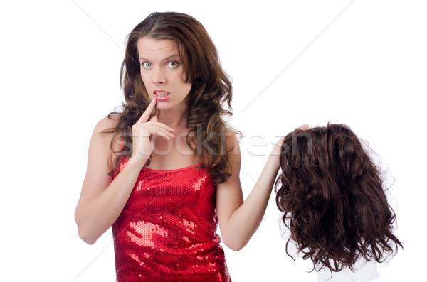 Femme perruque isolé blanche texture cheveux Photo stock © Elnur