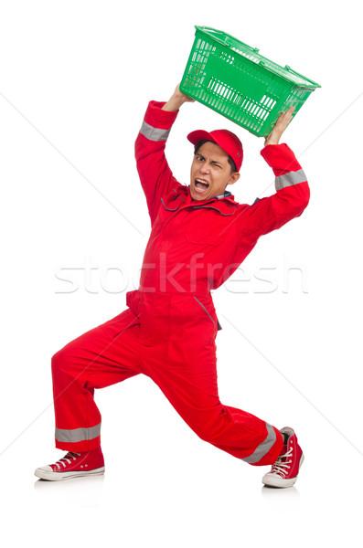 Adam kırmızı alışveriş süpermarket araba arka plan Stok fotoğraf © Elnur