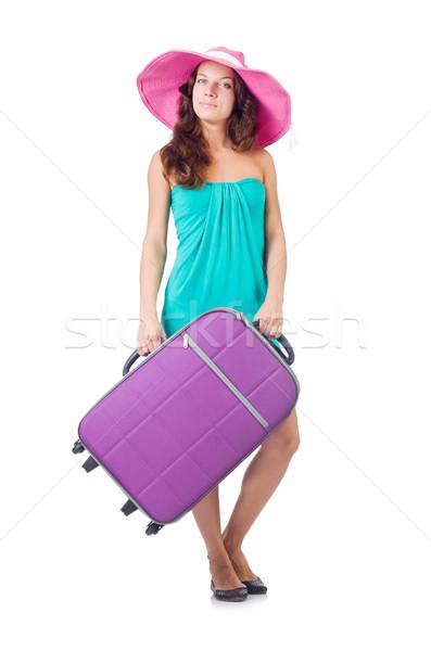 Donna viaggiatore valigia isolato bianco ragazza Foto d'archivio © Elnur