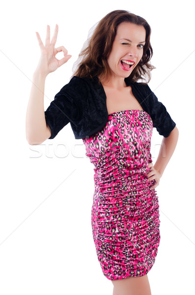 Woman giving thumbs up isolated on white Stock photo © Elnur