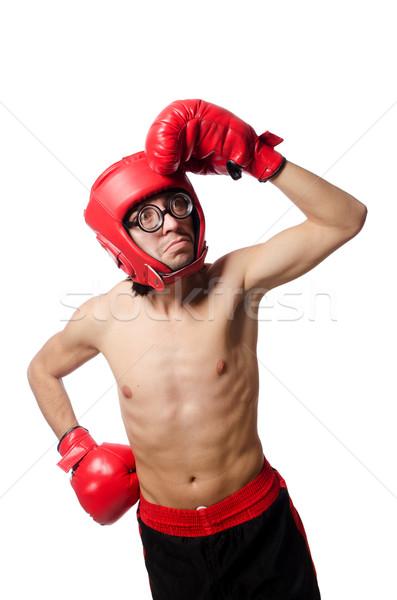 Vicces boxoló izolált fehér kéz fitnessz Stock fotó © Elnur