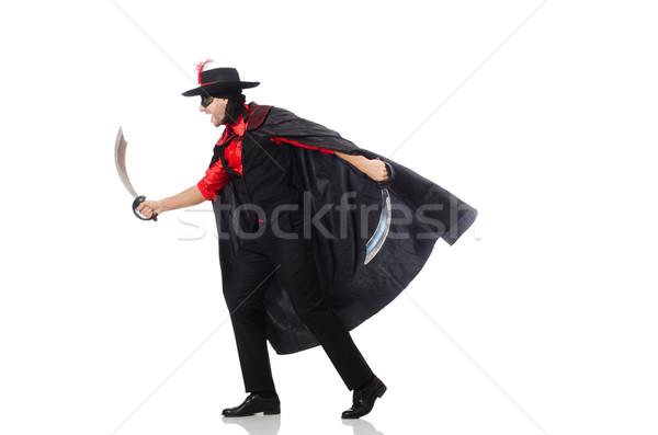 若い男 カーニバル コート 剣 孤立した 白 ストックフォト © Elnur