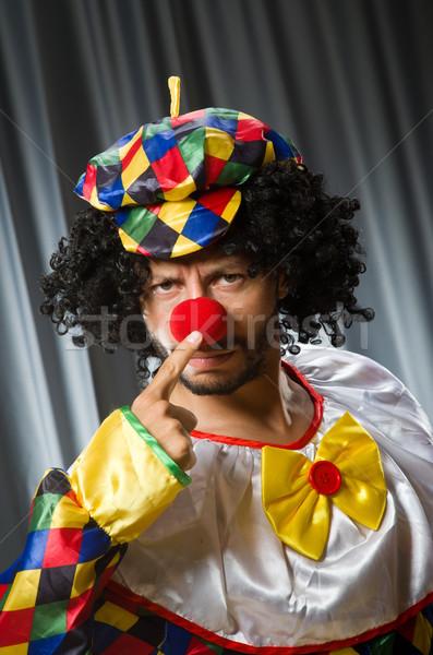 Grappig clown humoristisch gordijn glimlach triest Stockfoto © Elnur