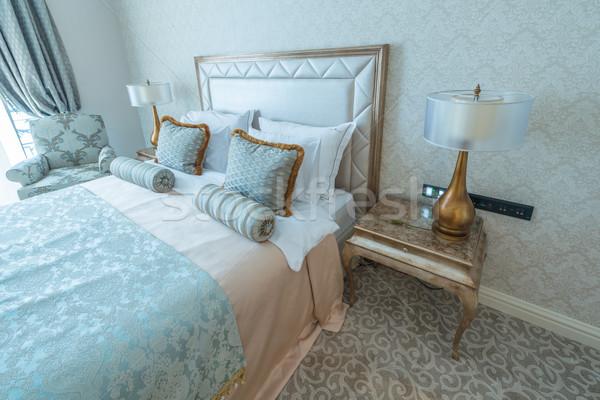 Sypialni pokój nowoczesny styl domu projektu podróży Zdjęcia stock © Elnur