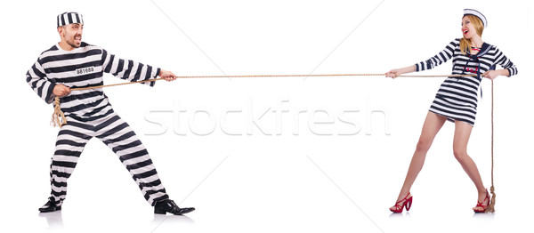 Convicted man and seaman girl isolated on white Stock photo © Elnur