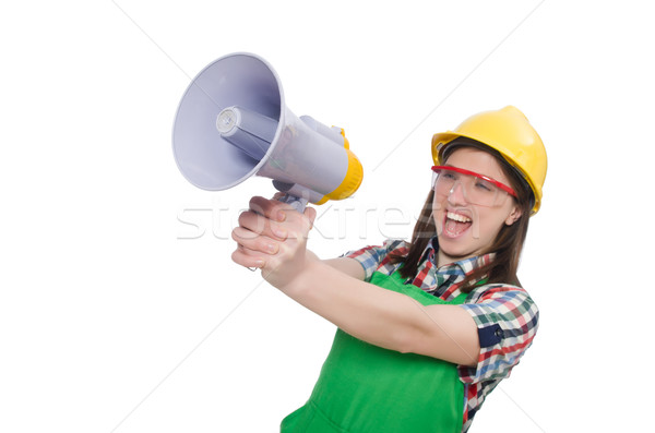 Woman wearing hard hat with loudspeaker Stock photo © Elnur