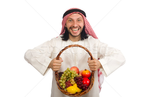 Arab man with fruits isolated on white Stock photo © Elnur