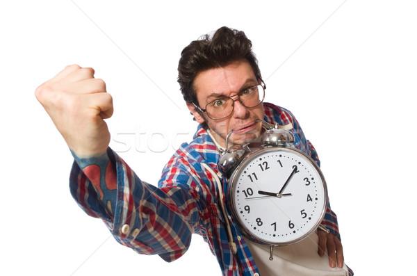 Estudante despertador isolado branco sorrir relógio Foto stock © Elnur