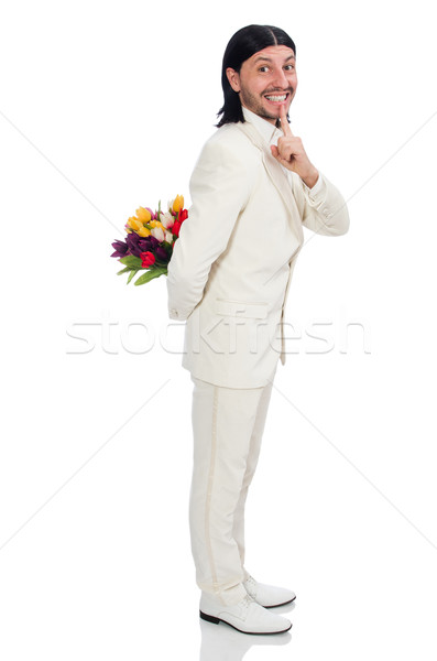 Man with tulip flowers isolated on white Stock photo © Elnur
