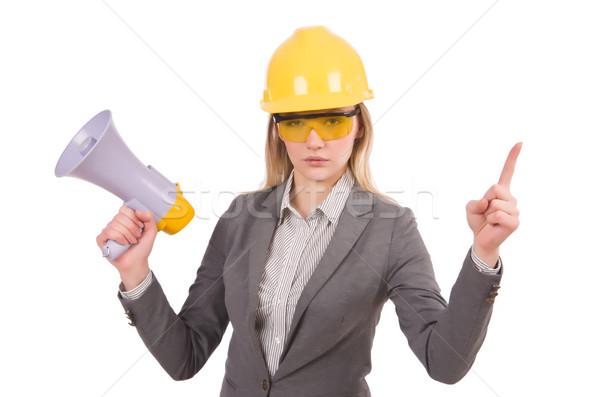 Construction employé mégaphone isolé blanche bâtiment Photo stock © Elnur