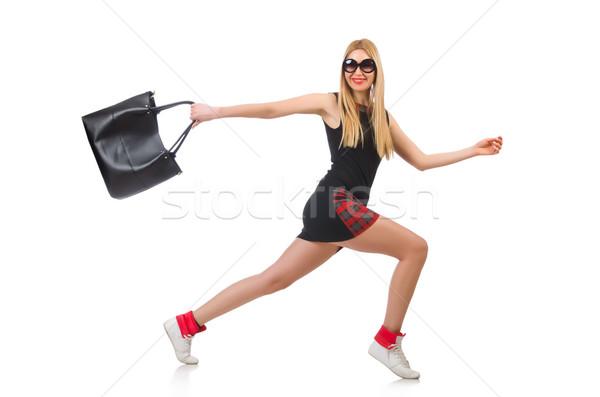 Сток-фото: оптимистичный · женщину · Солнцезащитные · очки · изолированный · белый