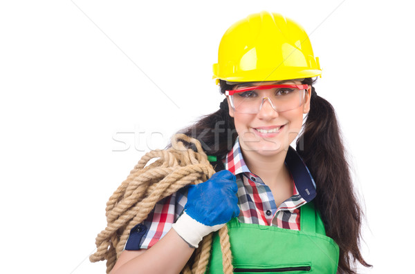 Female workman in green overalls isolated on white Stock photo © Elnur