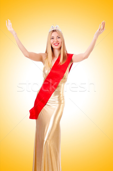 Beauty queen at contest isolated on white Stock photo © Elnur
