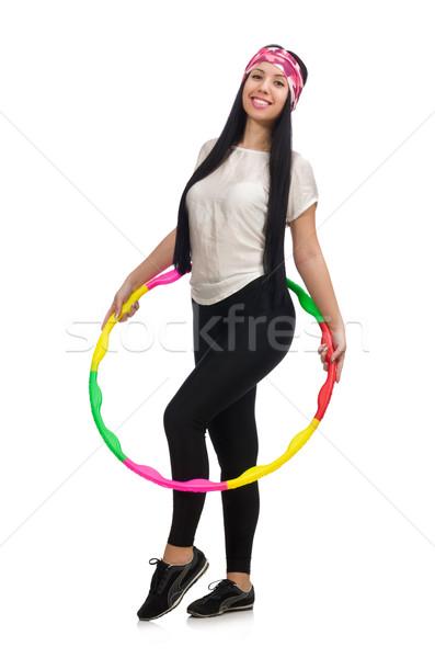 Meisje sport pak hoelahoep geïsoleerd witte Stockfoto © Elnur