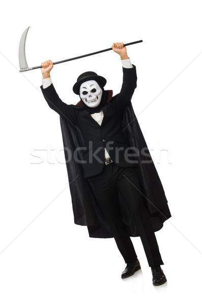 Adam korkutucu maske yalıtılmış beyaz adam beyaz Stok fotoğraf © Elnur