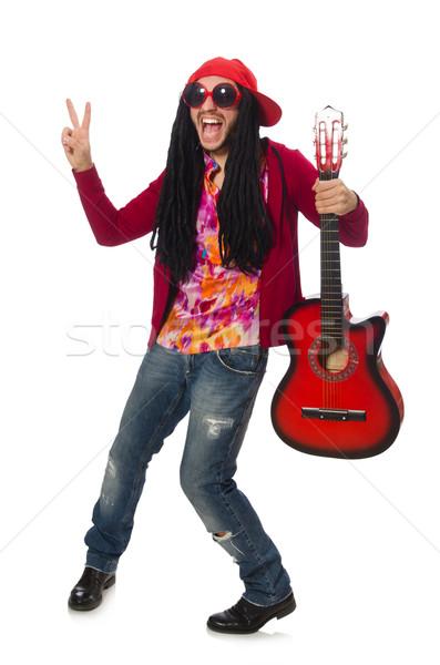 Férfi zenész gitár izolált fehér férfi Stock fotó © Elnur