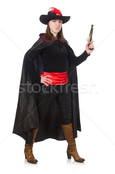 ストックフォト: 女性 · 海賊 · 孤立した · 白 · 手 · 黒