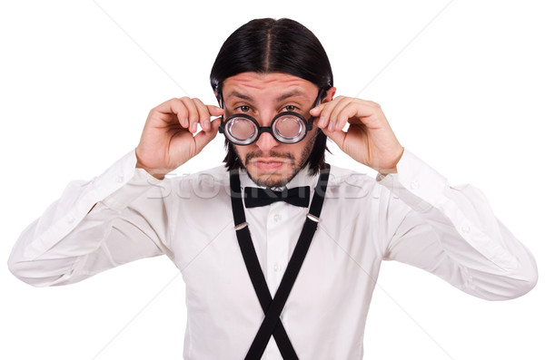 Man wearing suspenders isioated on white Stock photo © Elnur