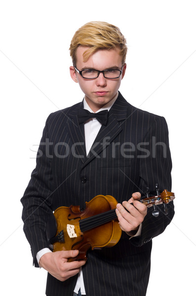 Jovem músico violino isolado branco música Foto stock © Elnur
