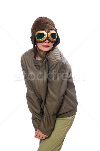Сток-фото: смешные · женщину · экспериментального · изолированный · белый · лице