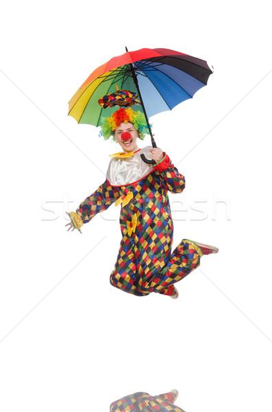Clown paraplu geïsoleerd witte gelukkig regen Stockfoto © Elnur