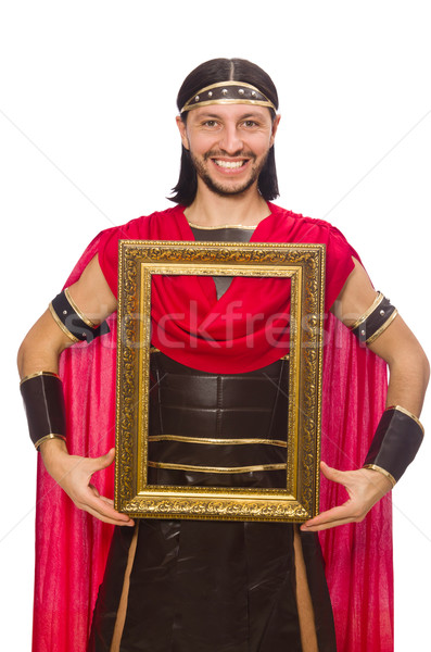 Gladiator holding picture frame isolated on white Stock photo © Elnur