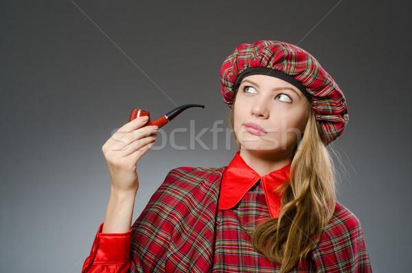 Vrouw traditioneel kleding dansen roken Stockfoto © Elnur