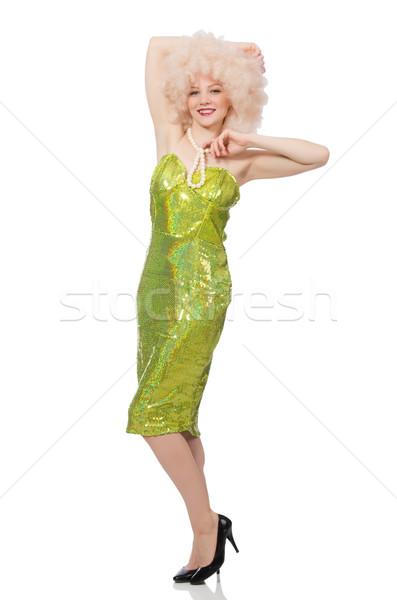 Nő visel fürtös vásár paróka izolált Stock fotó © Elnur